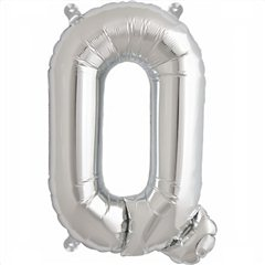 "16""/41 cm Silver Letter Q Shaped Foil Balloon, Northstar Balloons 00495"