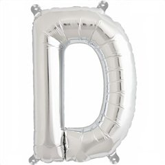 "16""/41 cm Silver Letter D Shaped Foil Balloon, Northstar Balloons 00482"
