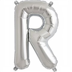 "16""/41 cm Silver Letter R Shaped Foil Balloon, Northstar Balloons 00496"