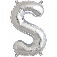 "16""/41 cm Silver Letter S Shaped Foil Balloon, Northstar Balloons 00497"