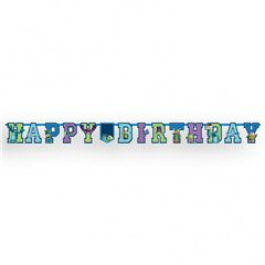 Banner decorativ pentru petrecere - 1.8 m, Monsters University Happy Birthday, Amscan 996837, 1 buc
