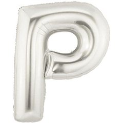 "34""/86 cm Silver Letter P Shaped Foil Balloon, Northstar Balloons 00211"