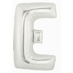 "34""/86 cm Silver Letter E Shaped Foil Balloon, Northstar Balloons 00200"