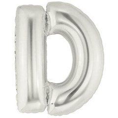 "34""/86 cm Silver Letter D Shaped Foil Balloon, Northstar Balloons 00199"