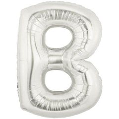 "34""/86 cm Silver Letter B Shaped Foil Balloon, Northstar Balloons 00197"