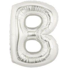 "34""/86 cm Silver Letter B Shaped Foil Balloon, Northstar Balloons 00197"