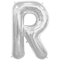 "34""/86 cm Silver Letter R Shaped Foil Balloon, Northstar Balloons 00213"