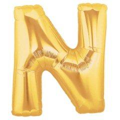 Balon folie mare litera N auriu - 86cm, Northstar Balloons 00261
