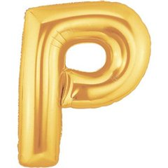 "34""/86 cm Gold Letter P Shaped Foil Balloon, Northstar Balloons 00263"