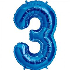 "34""/86 cm Blue Number 3 Shaped Foil Balloon, Northstar Balloons 00127"