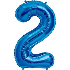 "34""/86 cm Blue Number 2 Shaped Foil Balloon, Northstar Balloons 00126"