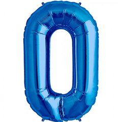 "34""/86 cm Blue Number 0 Shaped Foil Balloon, Northstar Balloons 00124"