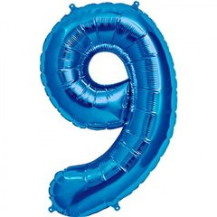 Balon folie mare cifra 9 albastru - 86cm, Northstar Balloons 00133