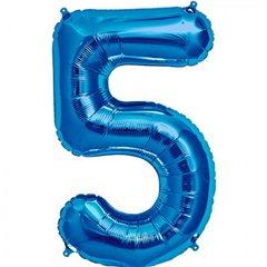 "34""/86 cm Blue Number 5 Shaped Foil Balloon, Northstar Balloons 00129"
