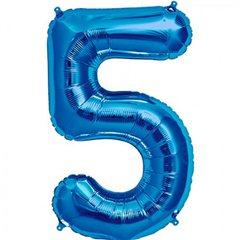 Balon folie mare cifra 5 albastru - 86 cm, Amscan 28285