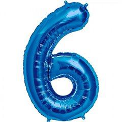 Balon Folie Mare Cifra 6 albastru - 86cm, Amscan 28288