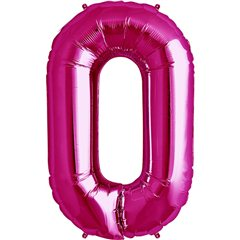 "34""/86 cm Magenta Number 0 Shaped Foil Balloon, Northstar Balloons 00134"