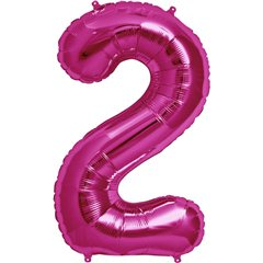 "34""/86 cm Magenta Number 2 Shaped Foil Balloon, Northstar Balloons 00136"