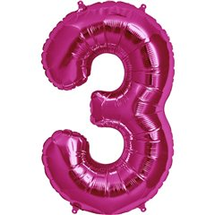 "34""/86 cm Magenta Number 3 Shaped Foil Balloon, Northstar Balloons 00137"
