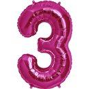 "Balon Folie Mare Cifra 3 Magenta - 34""/86cm, Northstar Balloons 00137"