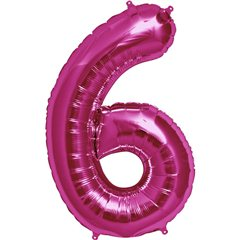 "34""/86 cm Magenta Number 6 Shaped Foil Balloon, Northstar Balloons 00140"