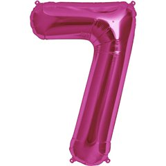 "34""/86 cm Magenta Number 7 Shaped Foil Balloon, Northstar Balloons 00141"