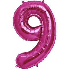 "34""/86 cm Magenta Number 9 Shaped Foil Balloon, Northstar Balloons 00143"