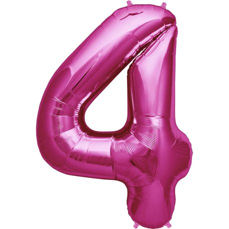 "34""/86 cm Magenta Number 4 Shaped Foil Balloon, Northstar Balloons 00138"