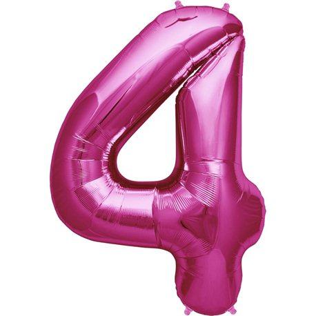 "34""/86 cm Magenta Number 4 Shaped Foil Balloon, Northstar Balloons 00138"