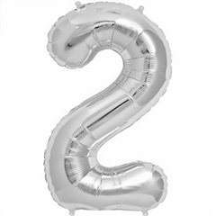 "34""/86 cm Silver Number 2 Shaped Foil Balloon, Northstar Balloons 00096"