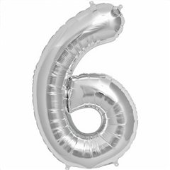 Balon folie mare cifra 6 argintiu - 86cm, Northstar Balloons 00100