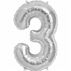 Balon folie mare cifra 3 argintiu - 86cm, Amscan 27983
