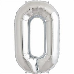 "34""/86 cm Silver Number 0 Shaped Foil Balloon, Northstar Balloons 00094"