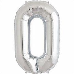 Balon folie mare cifra 0 argintiu - 86cm, Amscan 27980