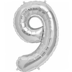 """34""""/86 cm Silver Number 9 Shaped Foil Balloon, Northstar Balloons 00103"""