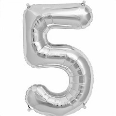 "34""/86 cm Silver Number 5 Shaped Foil Balloon, Northstar Balloons 00099"