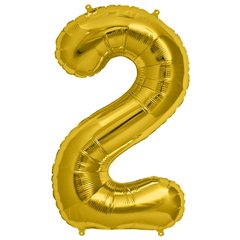 "34""/86 cm Gold Number 2 Shaped Foil Balloon, Northstar Balloons 00106"