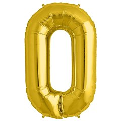 "34""/86 cm Gold Number 0 Shaped Foil Balloon, Northstar Balloons 00104"