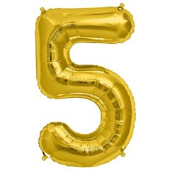 Balon folie mare cifra 5 auriu - 86cm, Northstar Balloons 00109