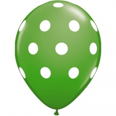 Printed Latex Balloons, Big Polka Dots Green, Radar GI.DOTS.VERDE