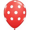 Printed Latex Balloons, Big Polka Dots Red, Radar GI.DOTS.ROSU