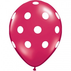 Printed Latex Balloons Big Polka Dots Fuchsia, Radar GI.DOTS.MAGENTA
