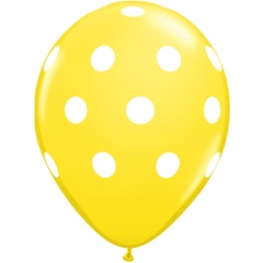 Printed Latex Balloons Big Polka Dots Yellow, Radar GI.DOTS.GALBEN
