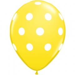 Printed Latex Balloons Big Polka Dots Yellow, Radar GI.DOTS.GALBEN