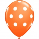 Printed Latex Balloons Big Polka Dots Orange, Radar GI.DOTS.ORANGE