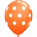 Printed Latex Balloons Big Polka Dots Orange, Radar GI.DOTS.ORANGE