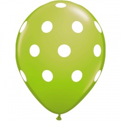 Baloane latex verde lime inscriptionate Big Polka Dots, Radar GI.DOTS.VERDEL