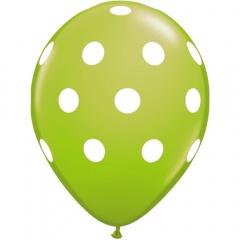 Baloane latex verde lime inscriptionate Big Polka Dots, Radar GI.DOTS.VERDEL