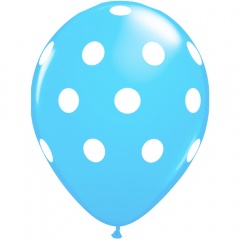 Printed Latex Balloons Big Polka Dots Blue, Radar GI.DOTS.BLEU