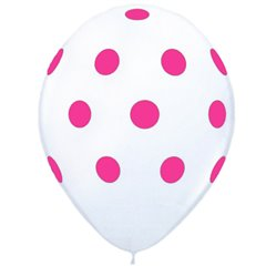 Printed Latex Balloons Big Polka Dots White, Radar GI.DOTS.ALB